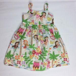 4T Dress Hawaiian Hula Girls Tropical Sleeveless